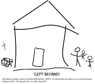 LEFT BEHIND - Debra Mitchell-Ibe graphic with caption